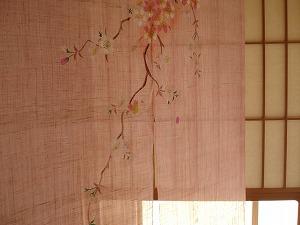 手描きのれん 「牡丹桜」 販売済
